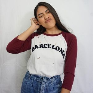 White & Burgundy Barcelona Baseball Tee with Rips